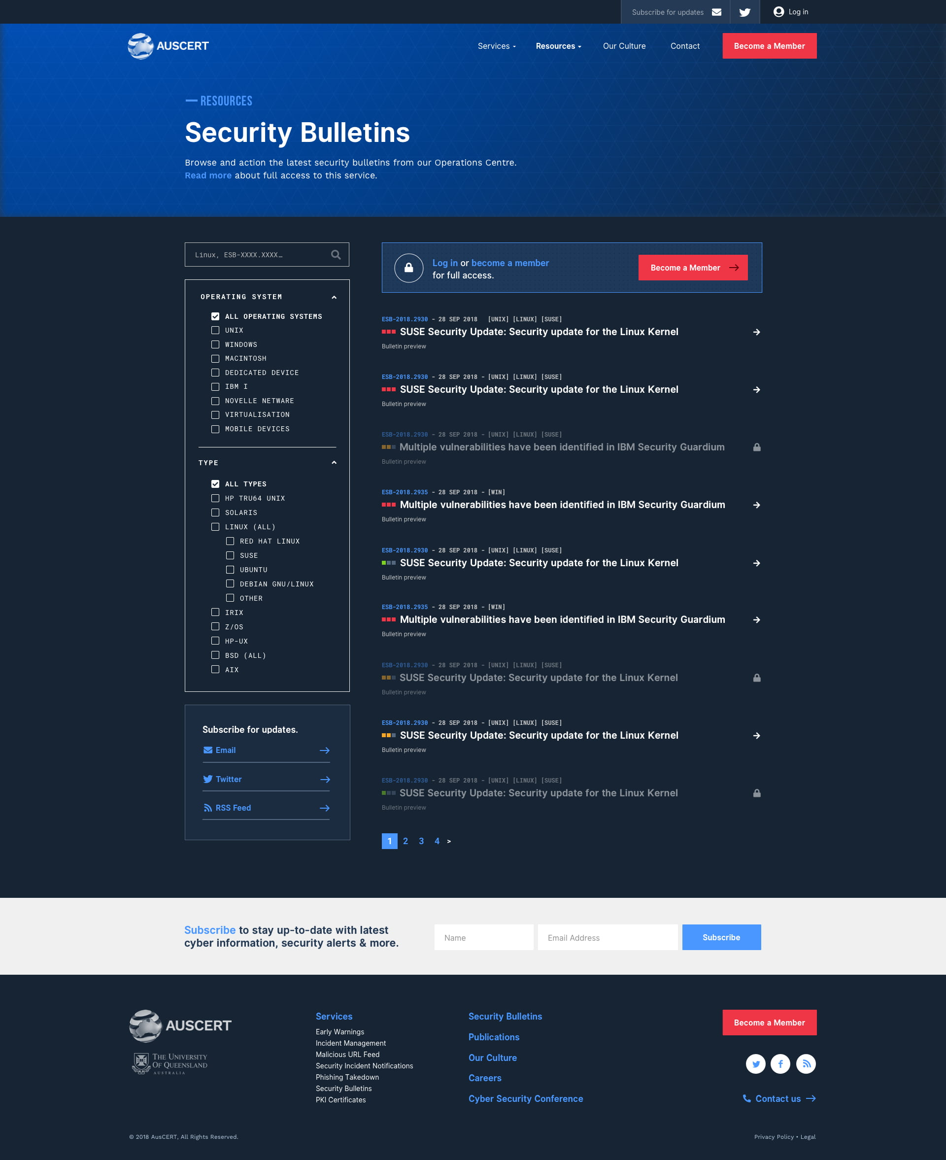AusCERT – Security Bulletins Filtering